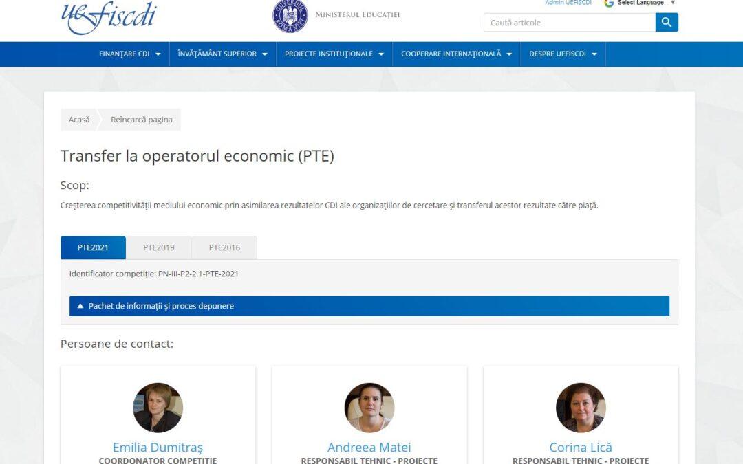 Transfer la operatorul economic (PTE)